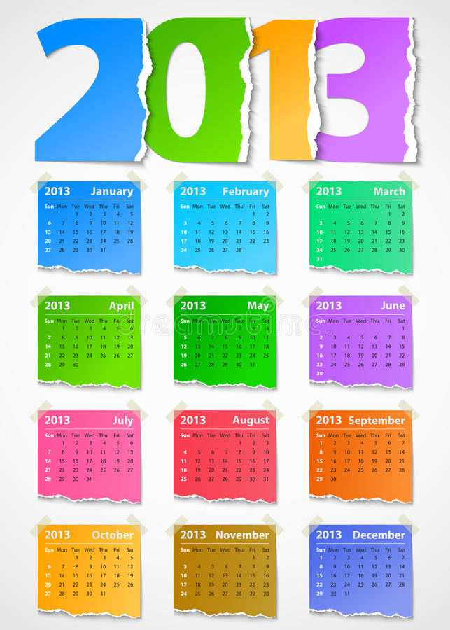 Download Calendar 2013 Colorful Torn Paper Stock Vector - Image: 26623984