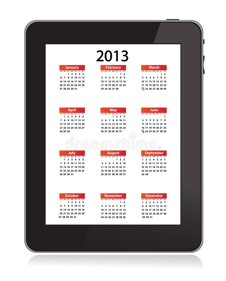 Download Calendar For 2013 In IPad 3 On White Screen Editorial Image - Image: 26707235