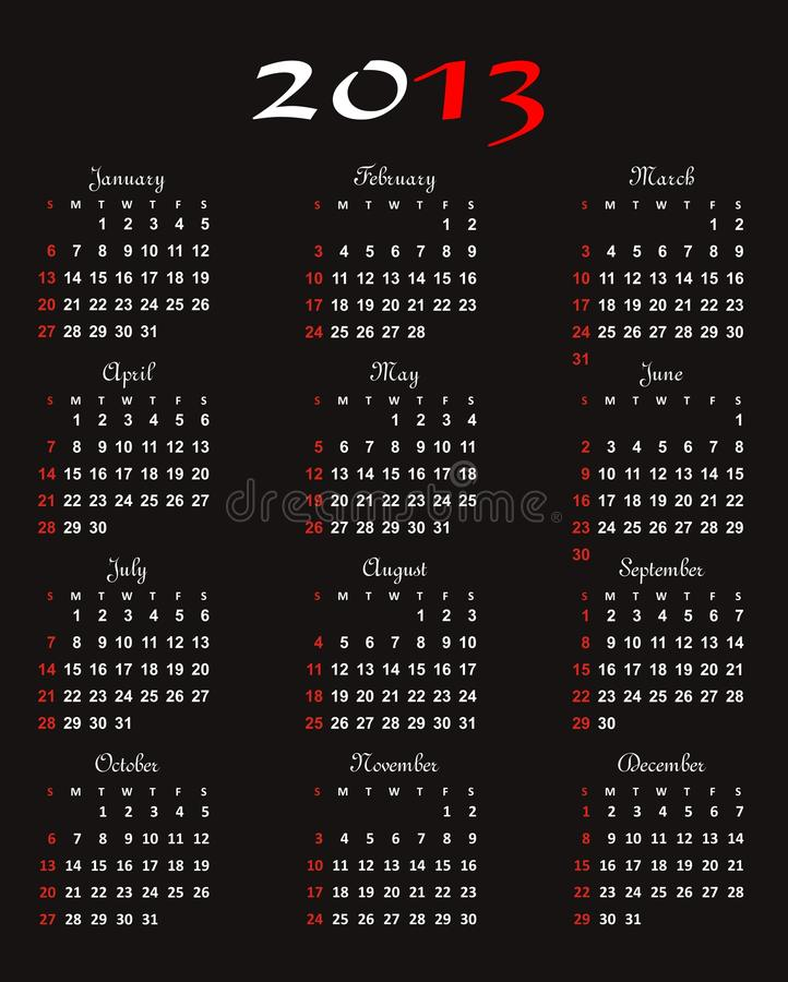 Calendar 2013 vector royalty free stock image