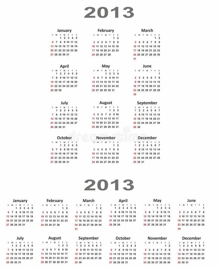 Calendar 2013 vertical and horizontal stock photo