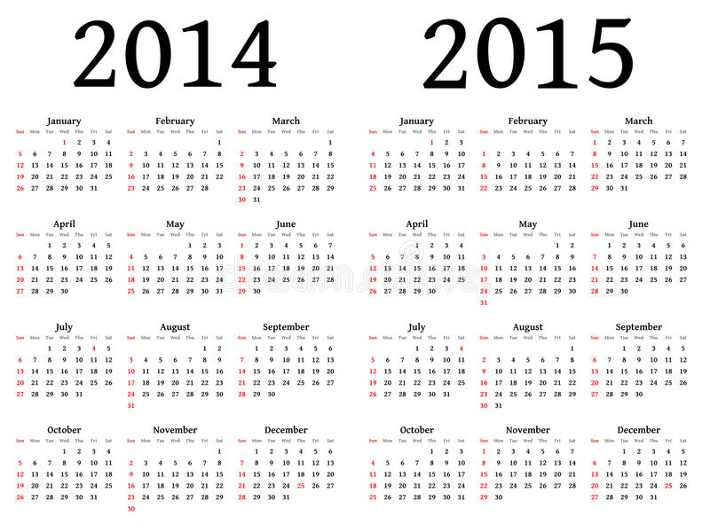 Calendar for 2014 and 2015 in vector stock illustration