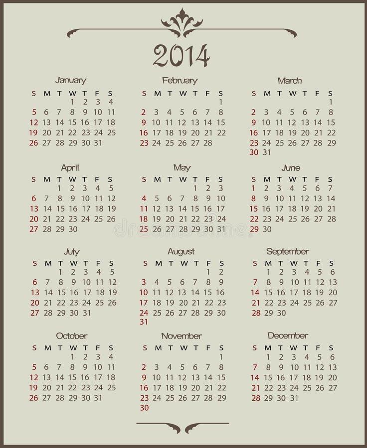 Free Calendar 2014 Royalty Free Stock Photo - 34340435