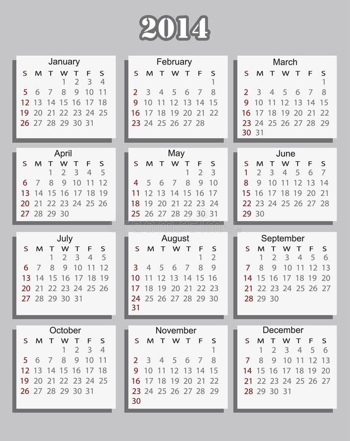 Free Calendar 2014 Royalty Free Stock Photos - 34340488