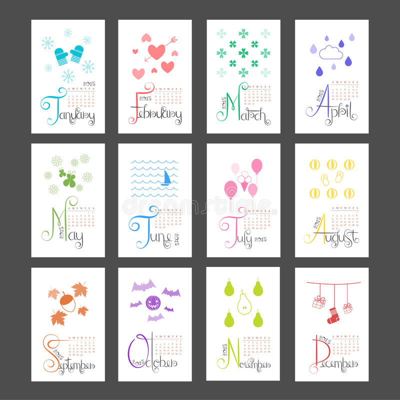 Free Calendar 2015 Mini Wall Lettering Monthly Sunday Start Royalty Free Stock Photos - 45269068