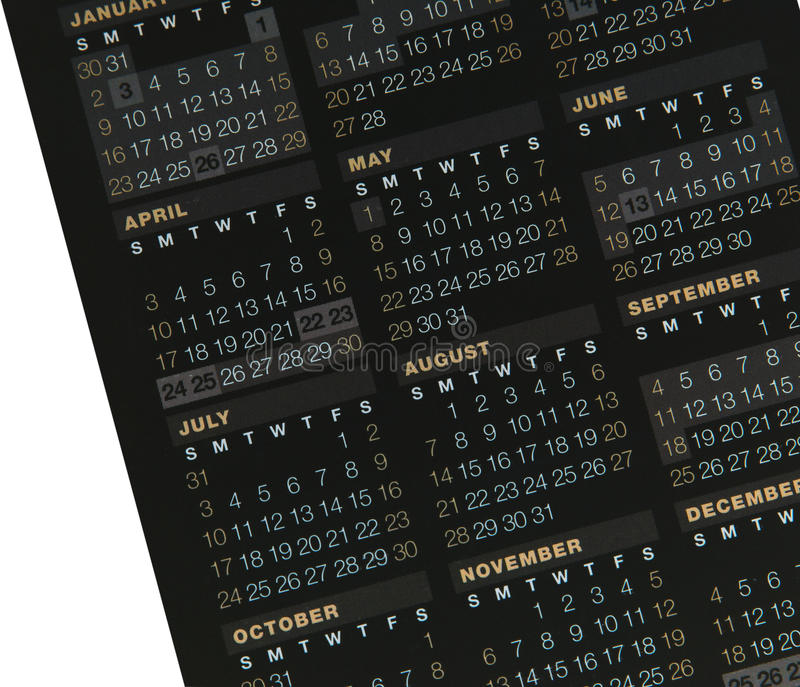 Calendar. A black calendar showing day and month royalty free stock images
