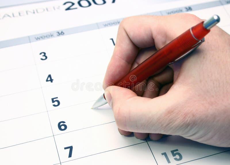 Calendar. Hand writing on a calendar