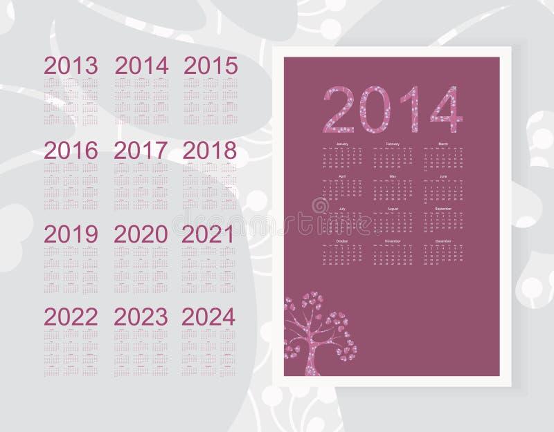 Calendar 2014 royalty free illustration