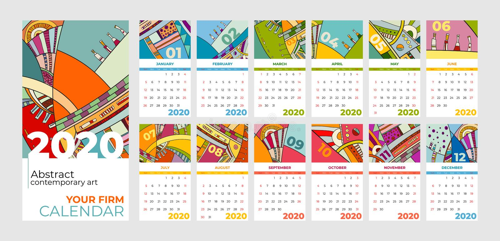 2020 calendar abstract contemporary art vector set. Desk, screen, desktop months 2020, colorful 2020 calendar template. Agenda pattern. Psychedelic sketched royalty free illustration