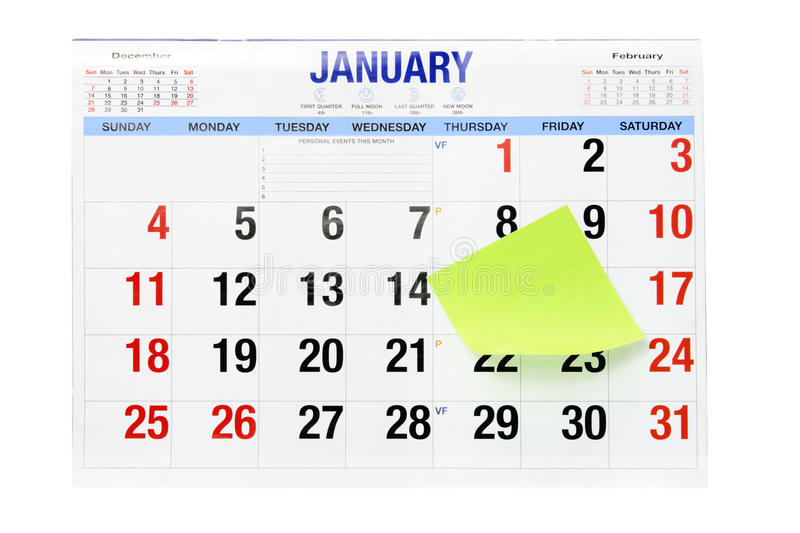 Calendar With  Adhesive Note Paper Stock Images