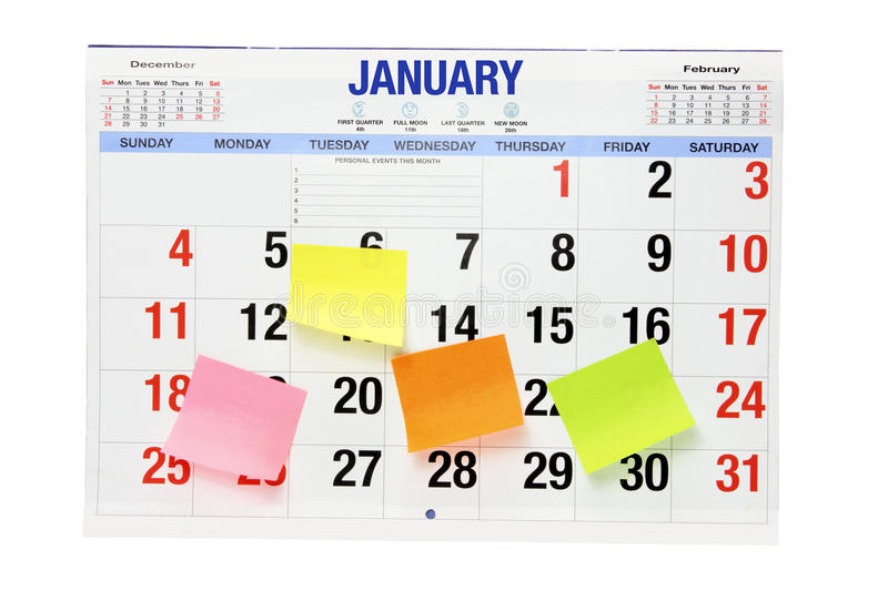 Download Calendar With Adhesive Note Papers Stock Image - Image: 22003357
