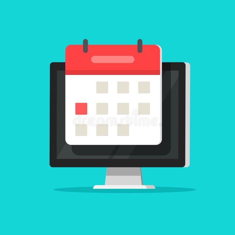 Calendar or agenda on computer screen vector illustration, flat cartoon online organizer app on pc display with event stock illustration