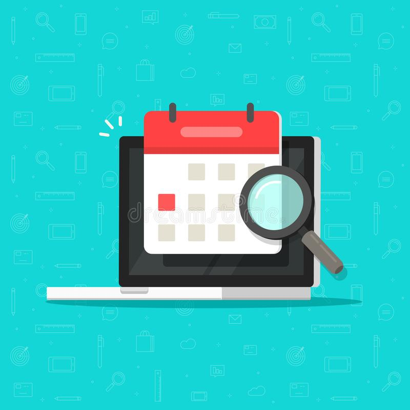 Calendar or agenda date find on laptop computer screen with magnifier glass vector icon, flat cartoon online organizer vector illustration