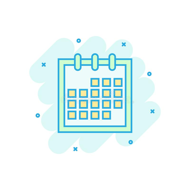 Calendar agenda icon in comic style. Planner vector cartoon illustration pictogram. Calendar business concept splash effect.  stock illustration