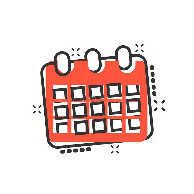 Calendar agenda icon in comic style. Planner vector cartoon illustration pictogram. Calendar business concept splash effect vector illustration