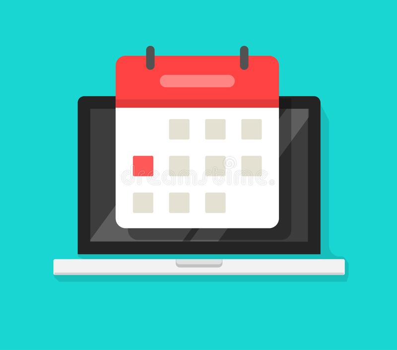 Calendar or agenda on laptop computer screen vector icon, flat cartoon online organizer app on pc display with event stock illustration