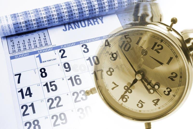 Calendar and Alarm Clock stock photo