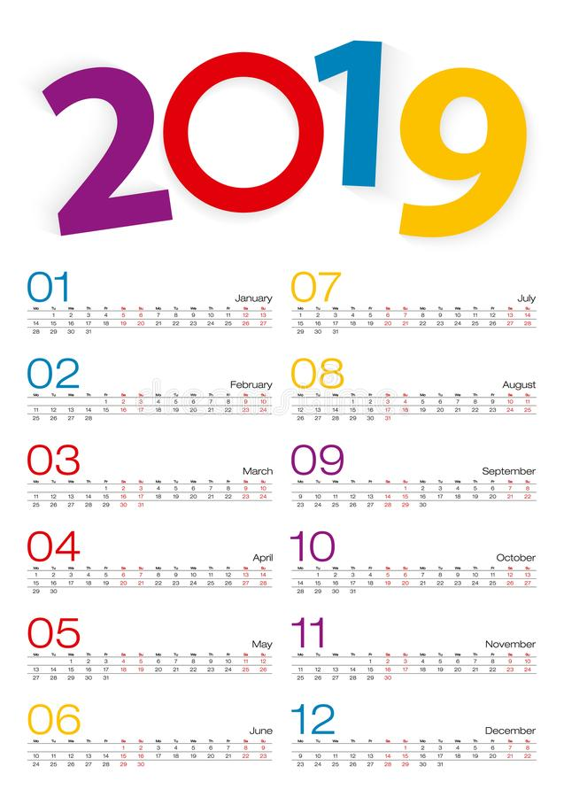 Calendar 2019, all månad, 2 veckor fodrar royaltyfri illustrationer