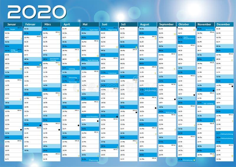 2020 calendar annual planner pocket business year vector stock illustration