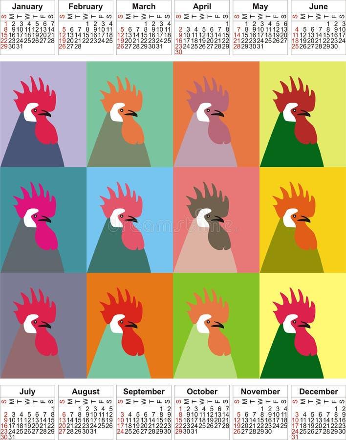 Calendar 2017 anos, doze meses, doze galos Um calendário com um símbolo, o galo Calendário do pop art ilustração royalty free