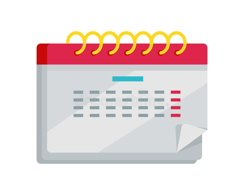 Calendar Flat Illustration : Calendar app icon in flat design web organizer stock