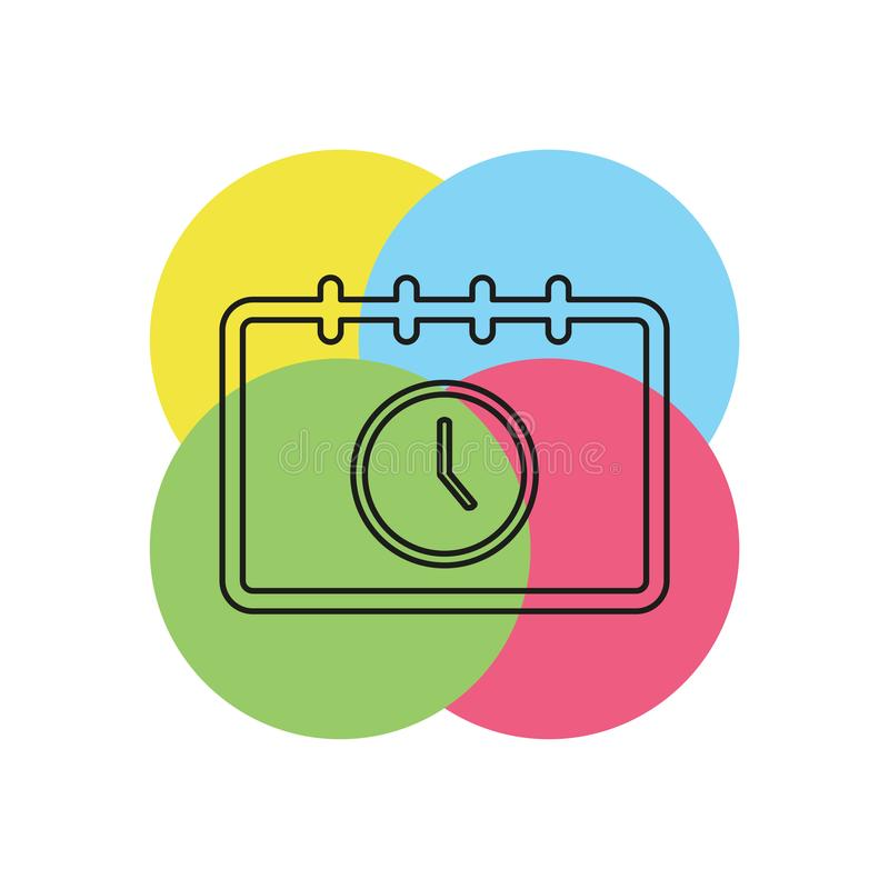 Calendar appointment icon, time and clock. Day calendar. Thin line pictogram - outline stroke stock illustration