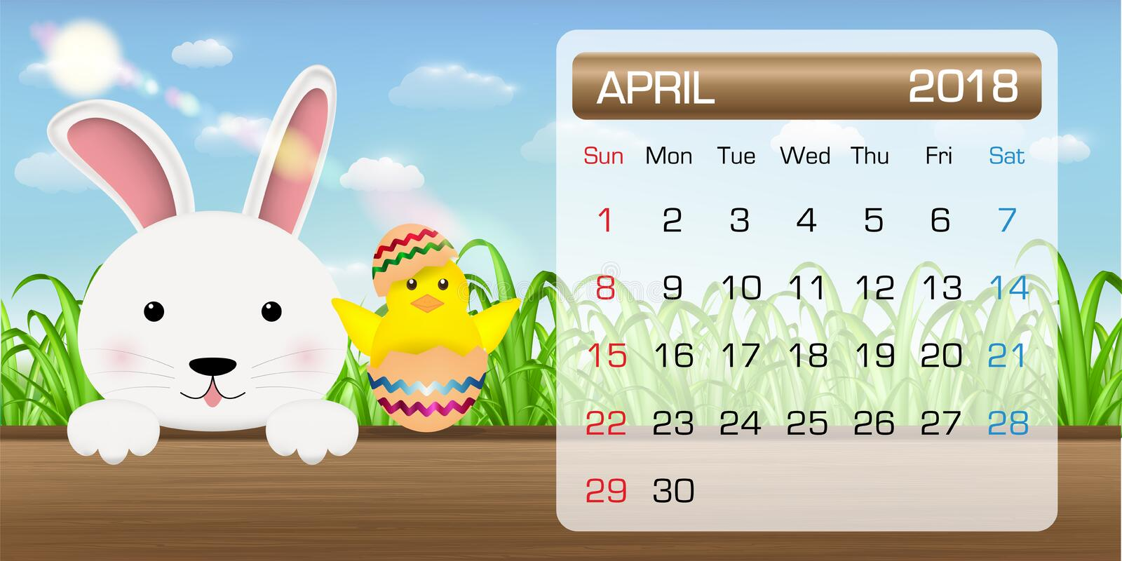 Xs Calendar April : Calendar of april month bunny chick easter stock