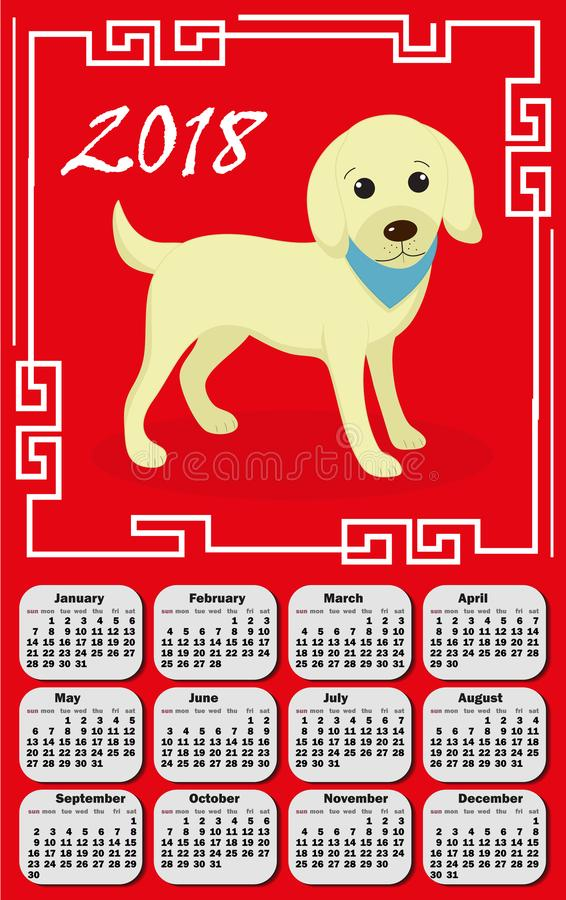 Calendar 2018 in the asia style with dog and Chinese frame. royalty free illustration