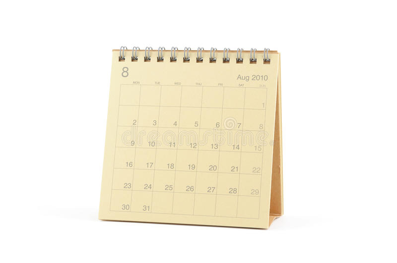 Download Calendar - August 2010 stock photo. Image of week, calendar - 12792762