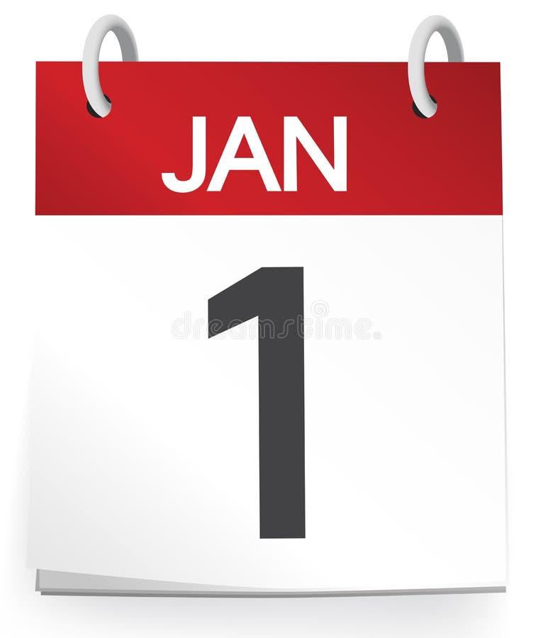 Calendar av Januari isolerade först på vit vektor illustrationer