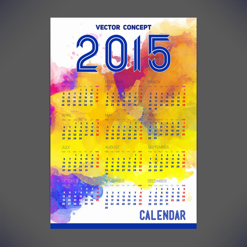 Calendar for 2015 with a background of watercolors. And a calendar grid for your design vector illustration