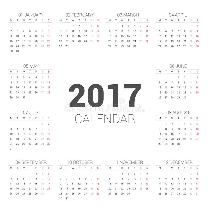 Calendar 2017 Basic Style On White Background Week Starts Monday