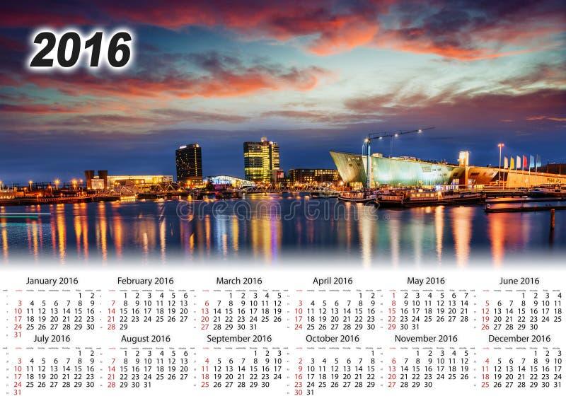 Calendar 2016. Beautiful night in Amsterdam. illumination royalty free stock photo