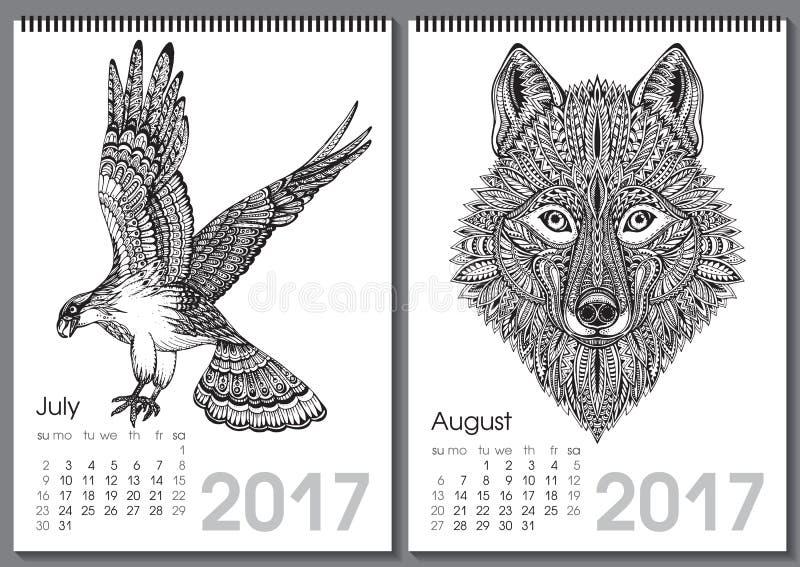 Calendar Illustration List : Calendar beautiful ornate hand drawn animals stock