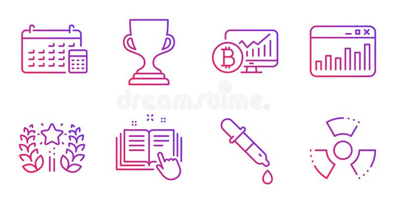 Calendar, Bitcoin chart and Chemistry pipette icons set. Ranking, Award cup and Technical documentation signs. Vector. Calendar, Bitcoin chart and Chemistry vector illustration