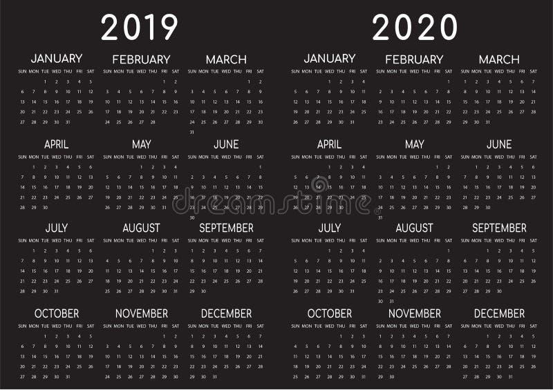 2019-2020 Calendar Black Backgrounded stock illustration