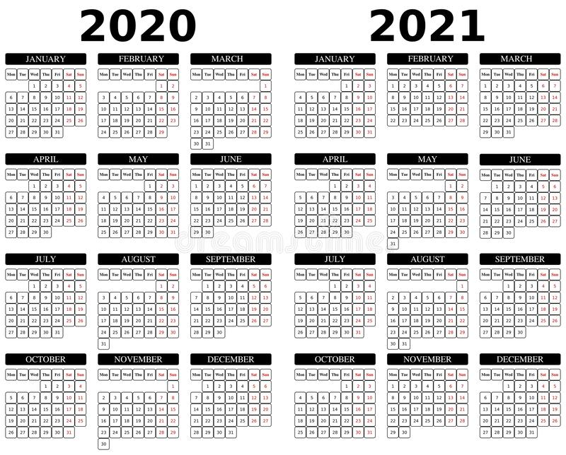 Calendar for 2020 and 2021. 2020 and 2021 black color calendar on white background. Week starts on Monday. Holidays in red colour. stock image