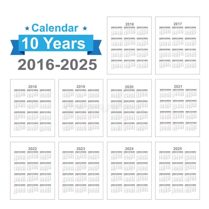 2016 - 2025 Calendar Black text on a white background vector stock illustration