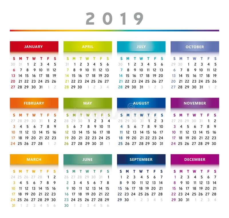 2019 Calendar with Boxes in Rainbow Colors 4 Columns - English. 2019 Calendar with Boxes in Rainbow Colors and in Table Shape. English Language vector illustration
