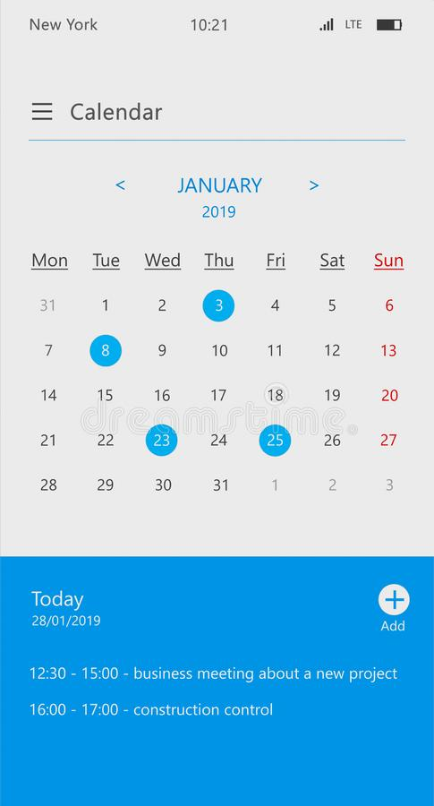 Calendar and business organizer app screen stock photos