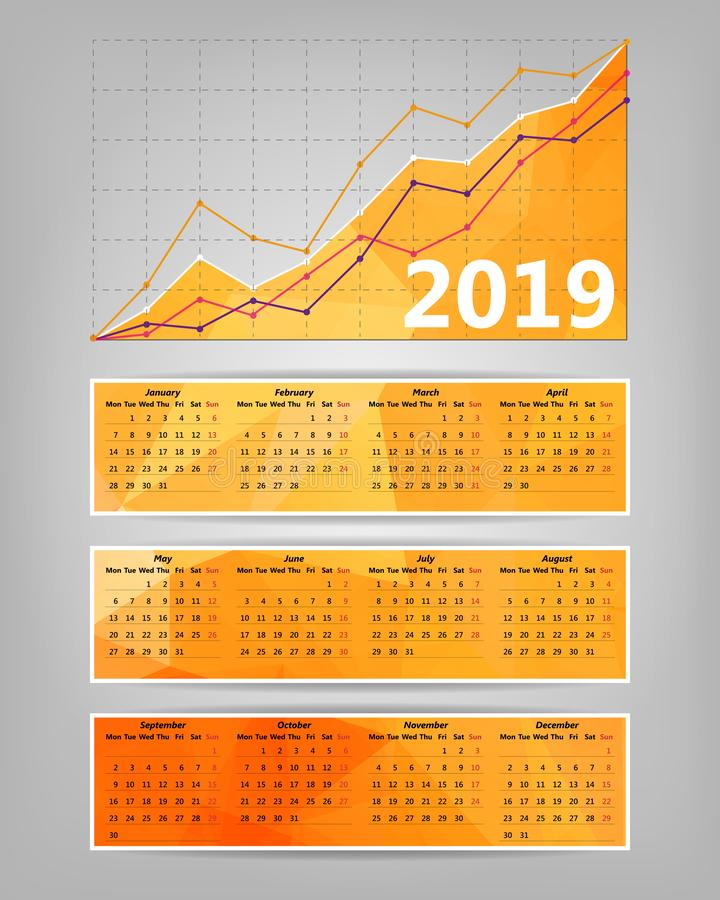 2019 calendar with business statistics chart showing different growing graphs. Report, market, date, economics, layout, bar, triangle, interface, concept vector illustration