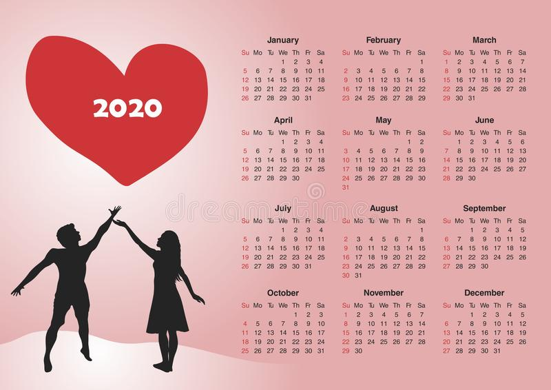 Calendar for 2020. CDR version is available too stock illustration