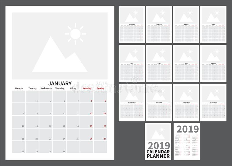 Calendar for 2019 stock illustration