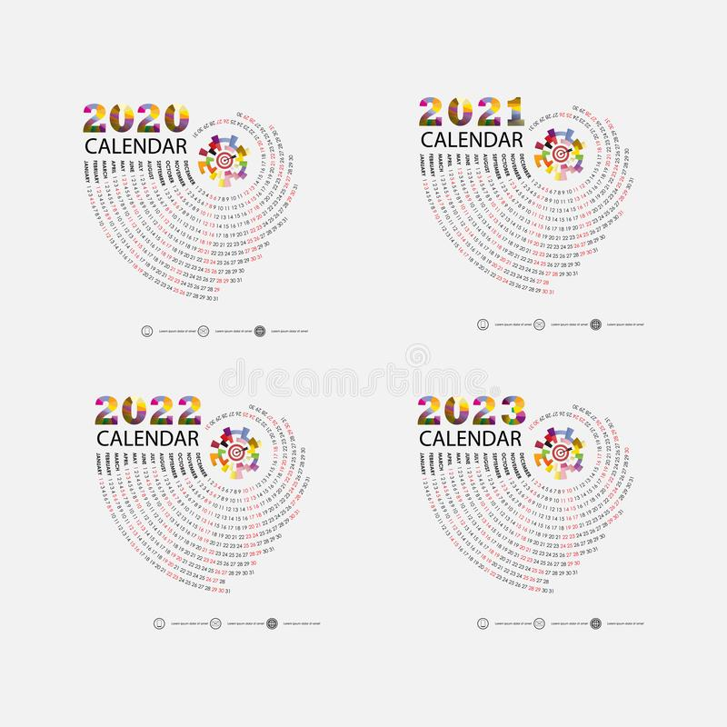 Calendar 2020, 2021,2022 and 2023 Calendar template.Calendar design.Yearly calendar vector design stationery template.Vector vector illustration