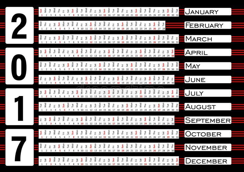 Calendar 2017, calendarium в горизонтальных прокладках, голубая абстрактная предпосылка иллюстрация штока