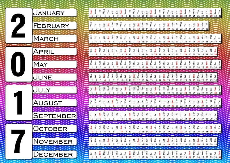 Calendar 2017, calendarium в горизонтальных прокладках, пестротканая волнистая предпосылка иллюстрация вектора