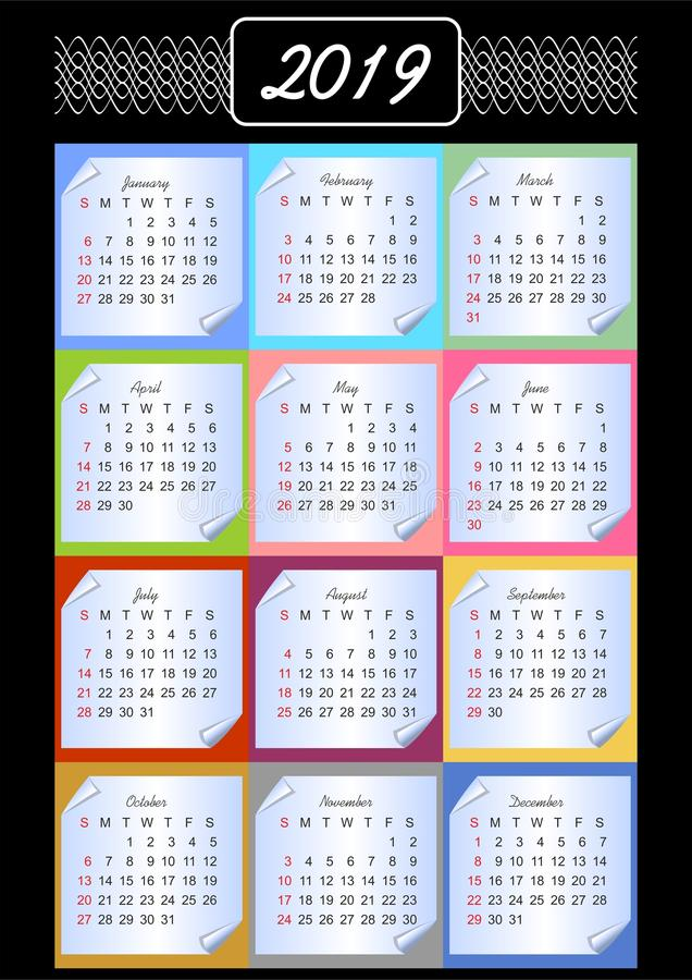 Calendar 2019, calendarium on memory blocks, multicolored background, vintage patterns in white outline, paper with rolled corner royalty free illustration