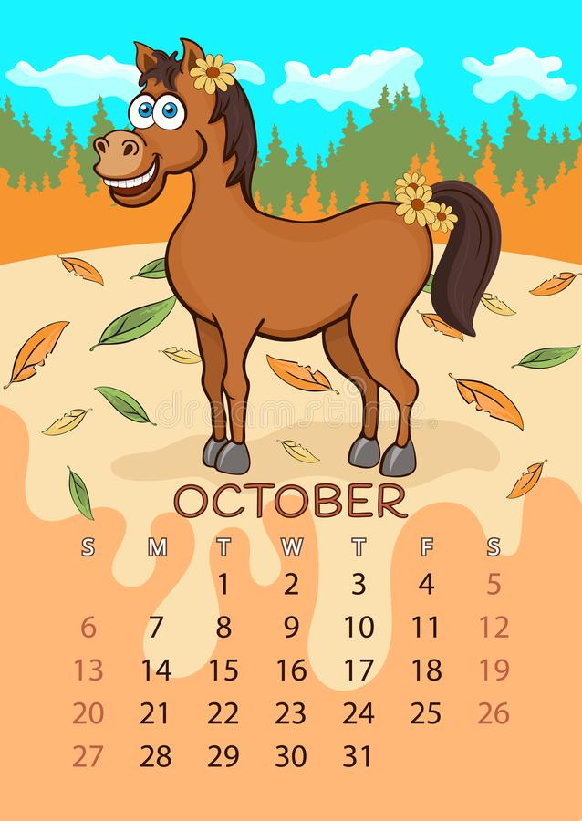 Calendar for 2019 with cartoon funny animals, hand drawing, vector illustration. Colorful, bright design of a wall-mounted rocker stock illustration
