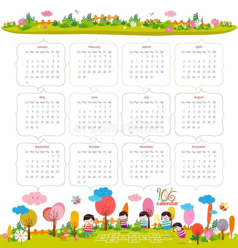Calendar Illustration List : Calendar for with cartoon and funny animals kids
