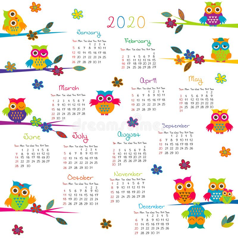 2020 Calendar with cartoon owls royalty free stock images