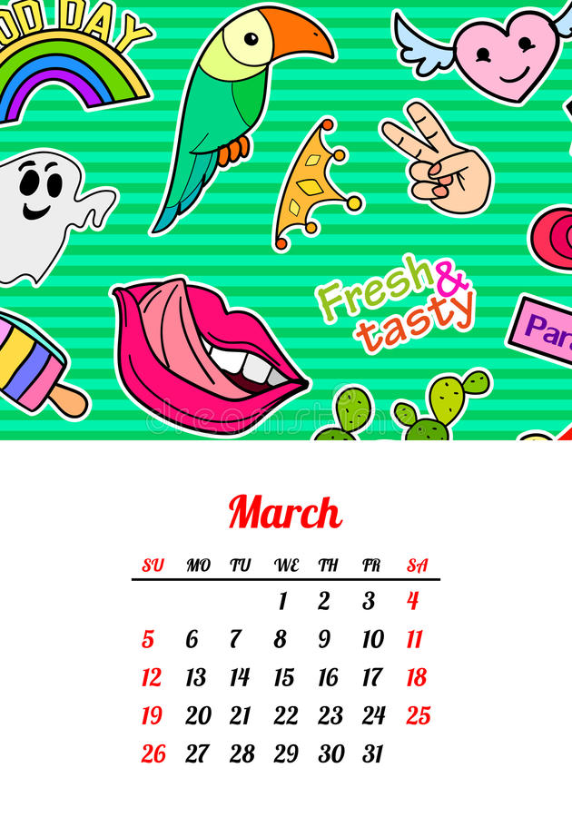 Calendar 2017 In cartoon 80s-90s comic style fashion patches, pins and stickers. Pop art vector illustration. Trendy. Colors. Eps 10 vector illustration